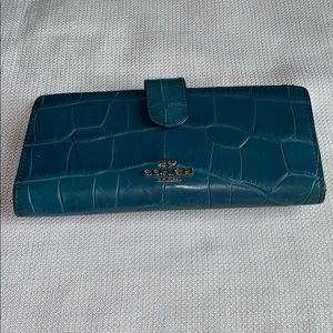 Coach Turquoise Alligator Leather Wallet